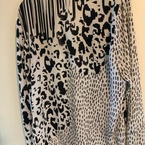 Long sleeve animal print blouse
